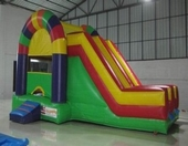 rainbow bounce house with 2 slide moonwalk rental, houston, tx - kingkongpartyrentals.com