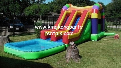toddler funhouse moonwalk with dual slides and pool rental houston tx kingkongpartyrentals - House Pools With Slides